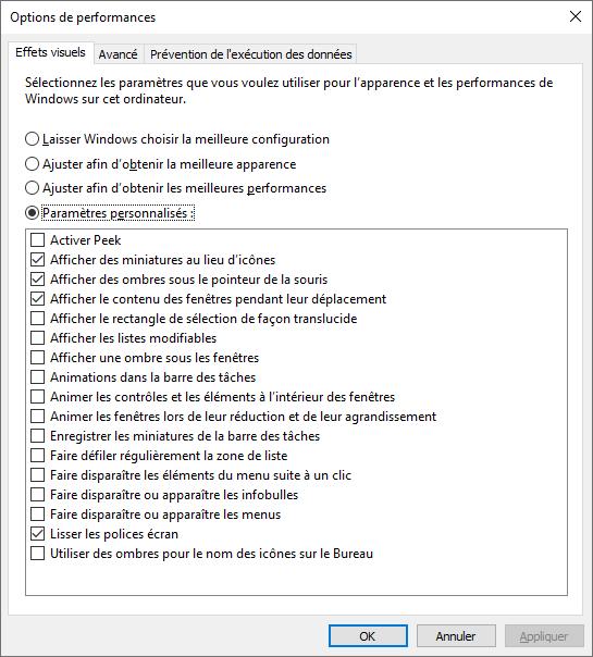 Régler Apparence Performance Windows