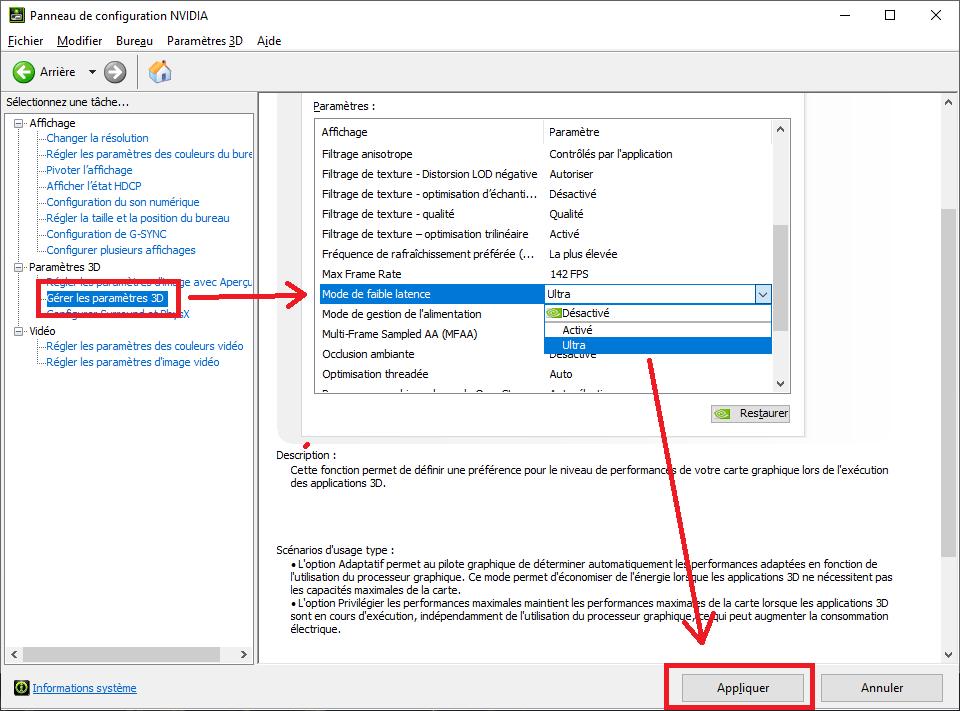 activer mode faible latence drivers pilote nvidia omgpu