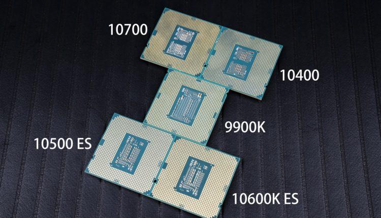 Intel Core 10700 Intel Core 10400 Intel Core 9900k Intel Core 10500 Intel Core 10600K processeur comparaison CPU test