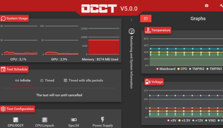 OCCT logiciel stress test processeur carte graphique alimentation omgpu 1