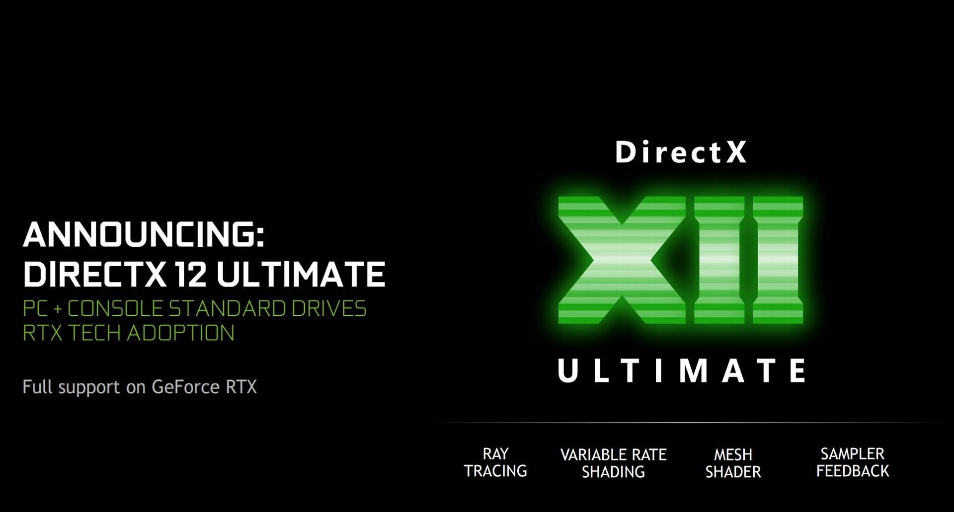 Directx 12 Ultimate Nvidia Drivers Ray Tracing Vrs Mesh Shader Sampler Feedback