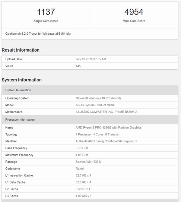Amd Ryzen 3 Pro 4350g Benchmark Geekbench Score