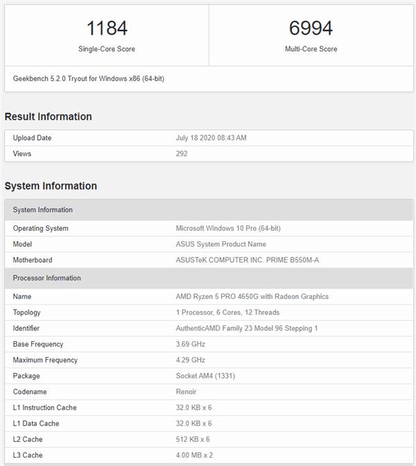 Amd Ryzen 5 Pro 4650g Benchmark Geekbench Score