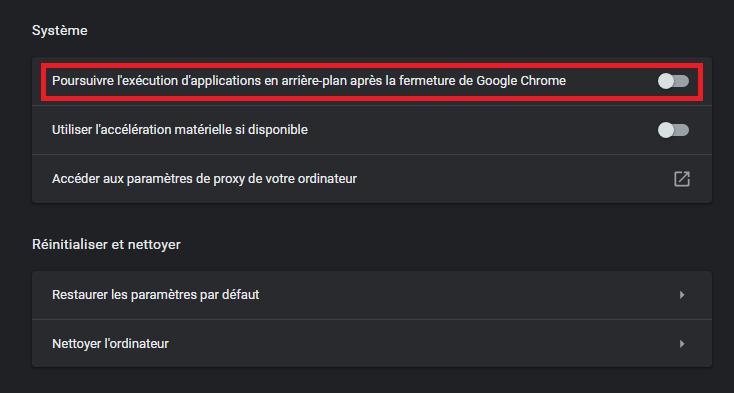 desactiver application en arrière plan google chrome omgpu