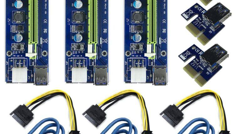 6 Pin Pci E 1x To 16x Carte D'adaptateur De Riser Amplifiée & Câble D'extension Usb 3,0 & 6pin Au Câble D'alimentation Sata & Adaptateur De Riser Gpu, Carte Graphique Express Mining Eth