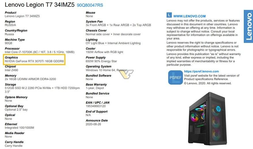 Nvidia Geforce Rtx 3070 Ti 16go