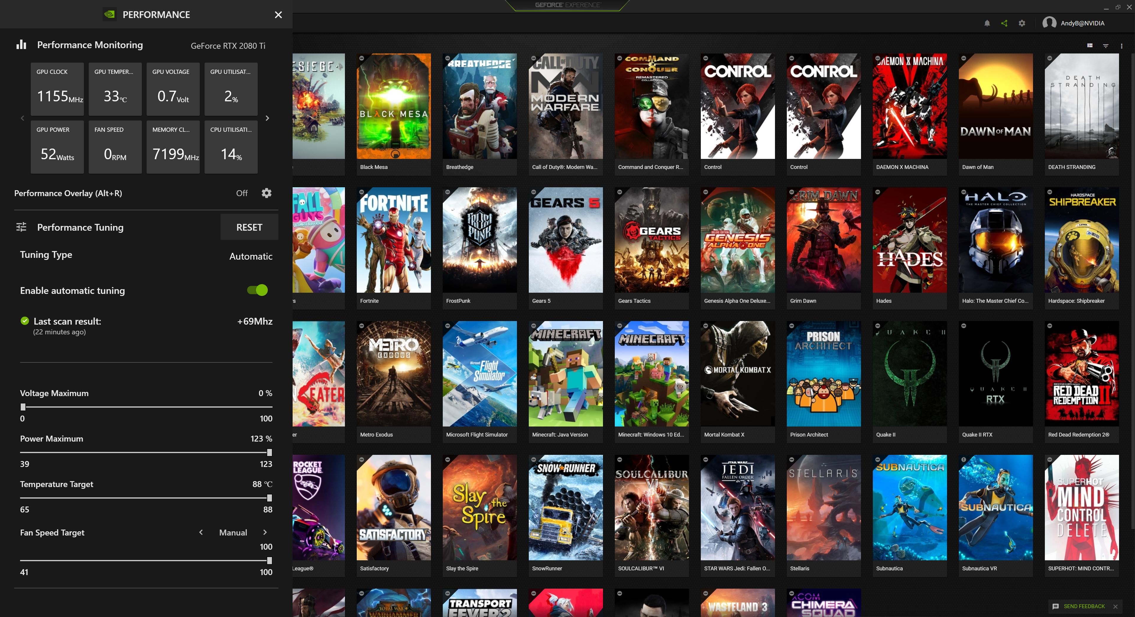 Geforce Experience Rtx 3000 Series Performance Monitor And Tuning One Click Optimal Settings