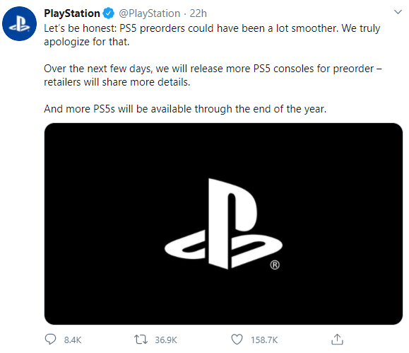 Sony Playstation 5 Pre Order Apology Excuses