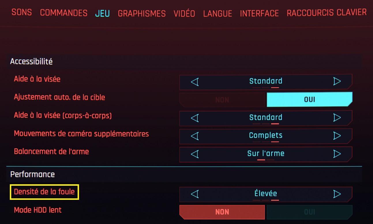 Cyberpunk 2077 Densite De La Foule Option Graphique Cpu Processeur