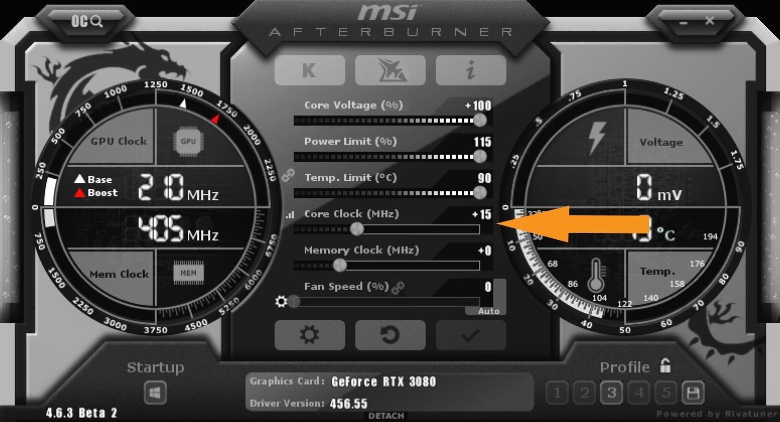 Nvidia Geforce Rtx 3080 Guide Overclocking Msi After Burner Core Clock Gpu
