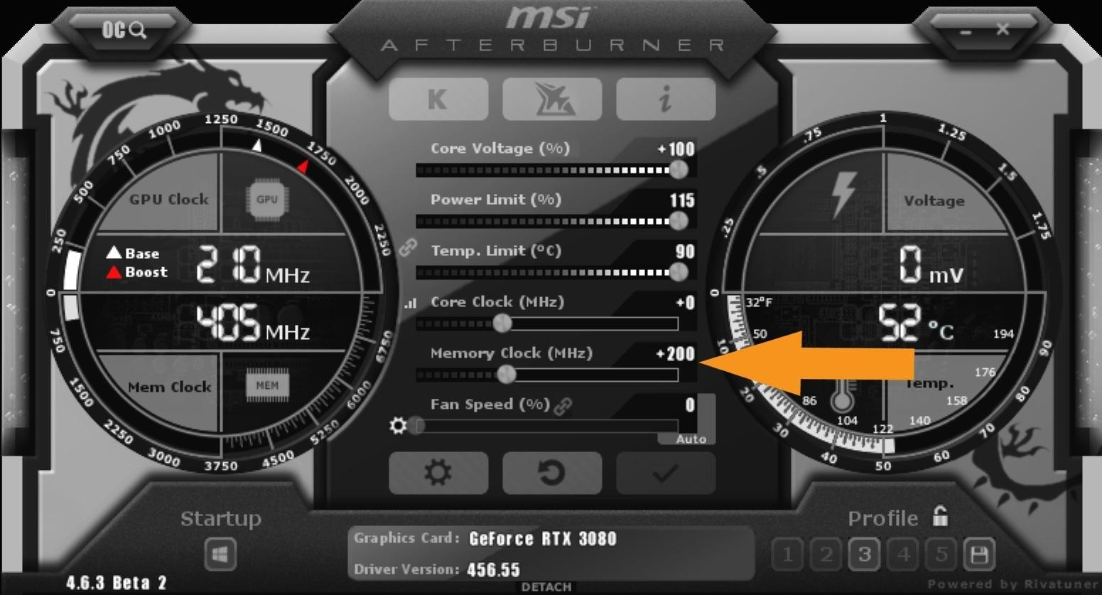 Nvidia Geforce Rtx 3080 Guide Overclocking Msi After Burner Memory Clock