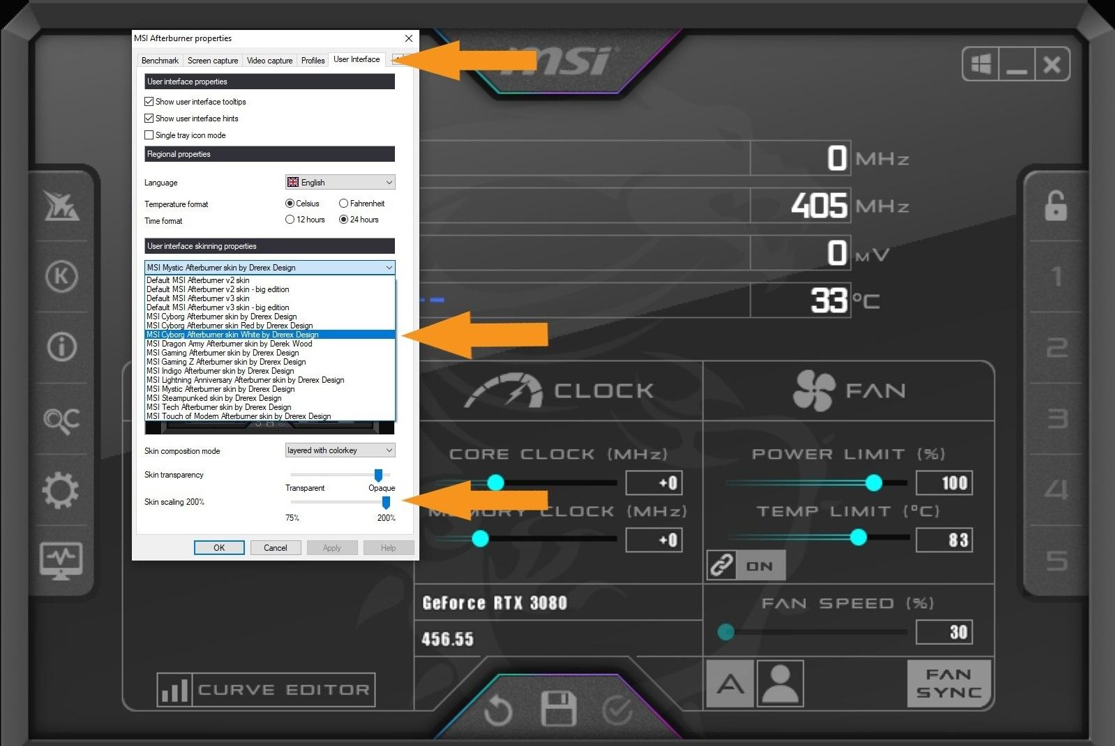 Nvidia Geforce Rtx 3080 Guide Overclocking Msi After Burner Skin Cyborg 200