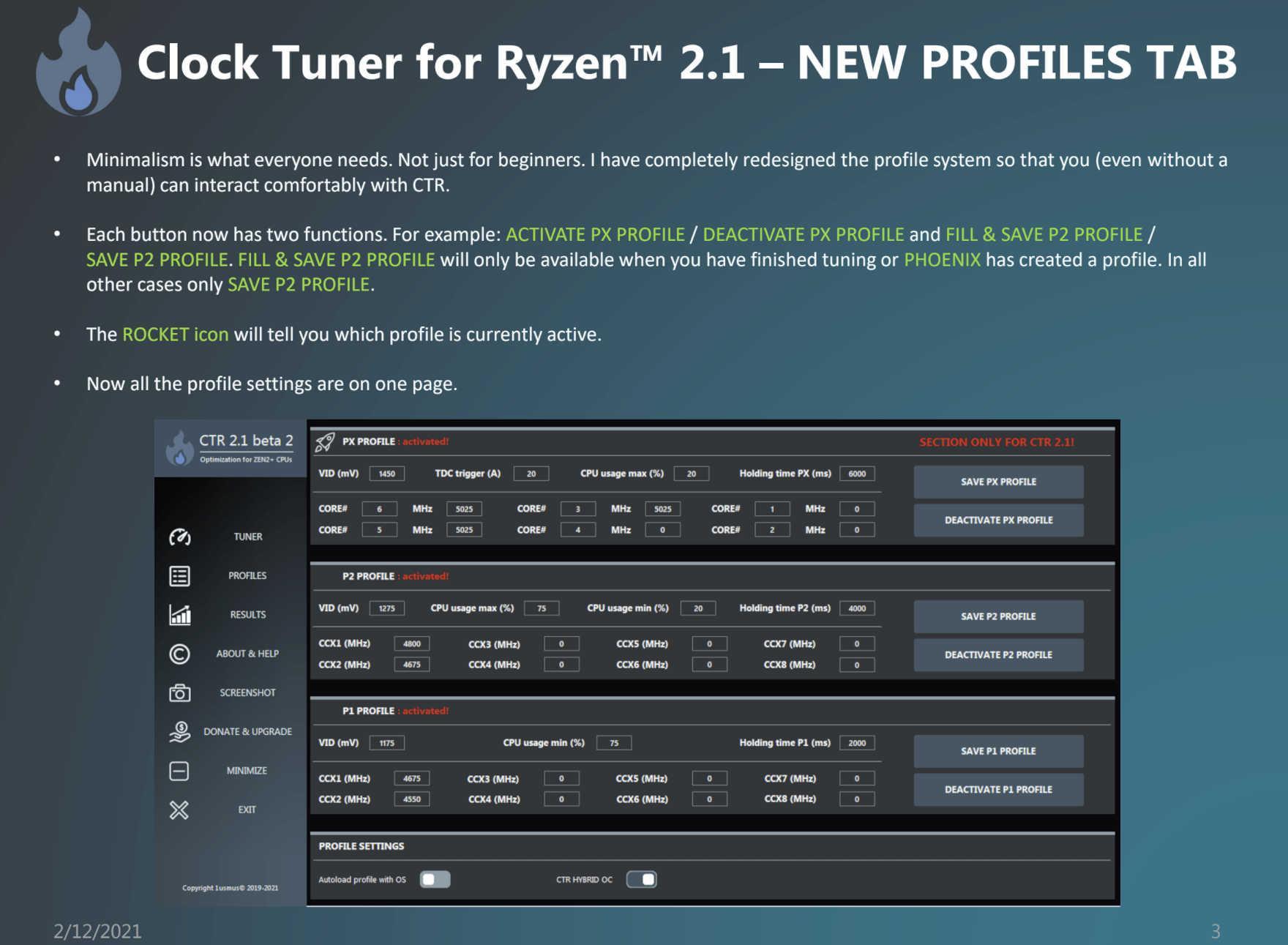 Clocktuner For Ryzen 2.1 Ctr Tool Hybrid Oc Ryzen 5000 Profil