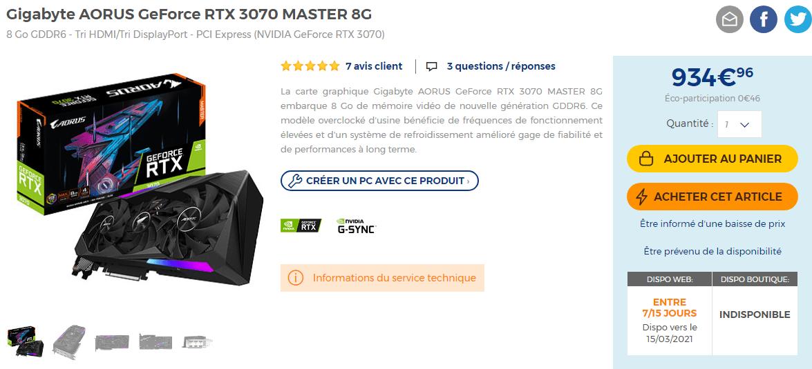 Aorus Rtx 3070 Master 8g X En Stock