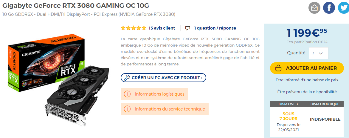 Gigabyte Geforce Rtx 3080 Gaming Oc 10g En Stock