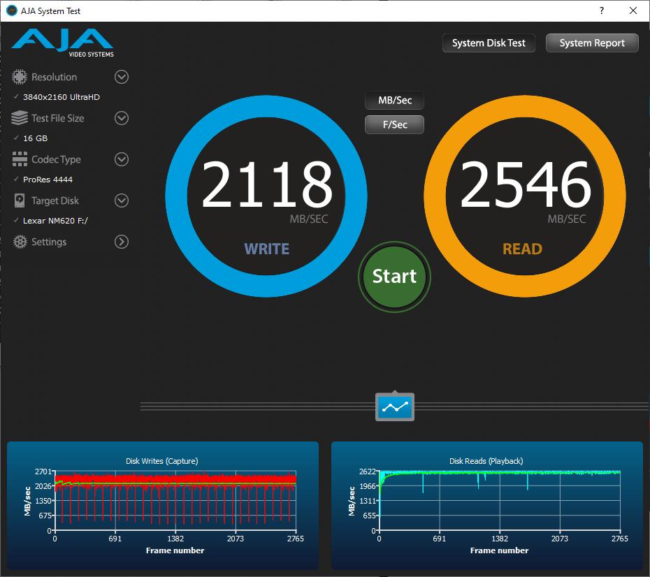 Lexar Ssd Nm620 512 Go Gb Aja Video System Benchmark 16go Omgpu Test Run