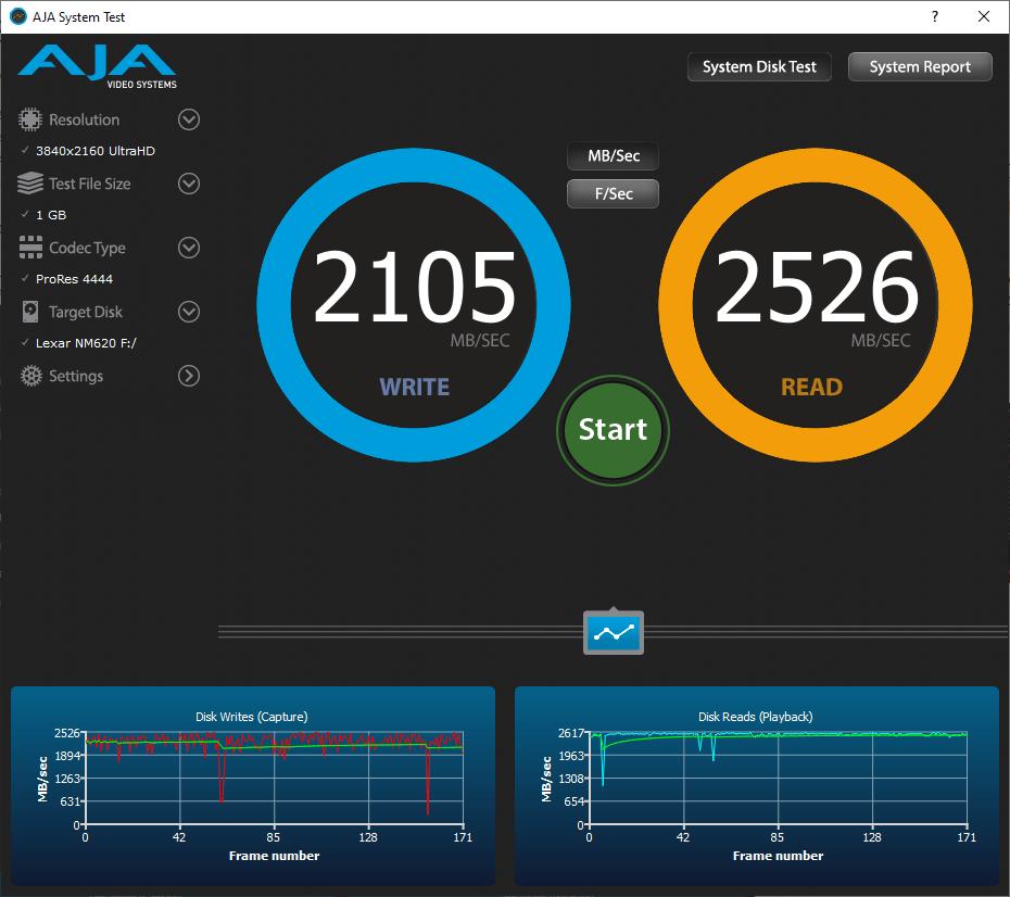 Lexar Ssd Nm620 512 Go Gb Aja Video System Benchmark 1go Omgpu Test Run