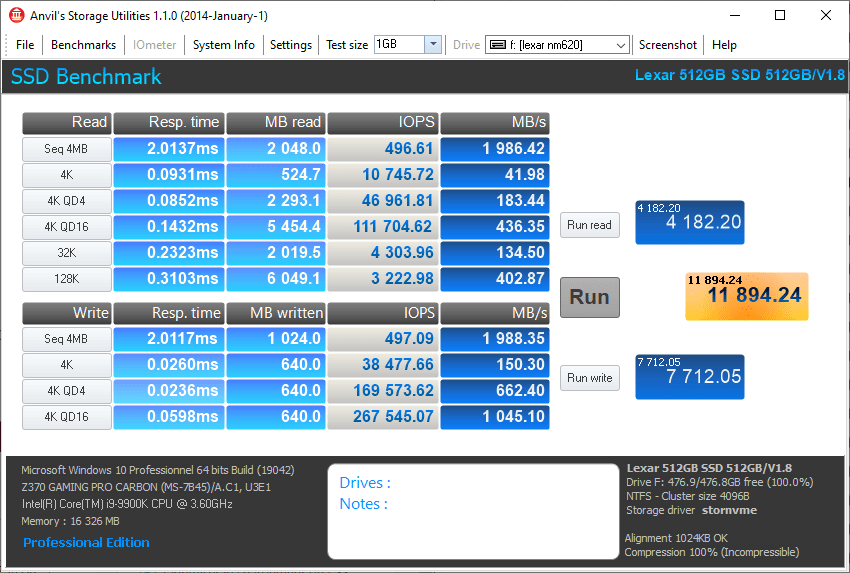 Lexar Ssd Nm620 512 Go Gb Anvil Storage Utilities 100% Benchmark Omgpu Test