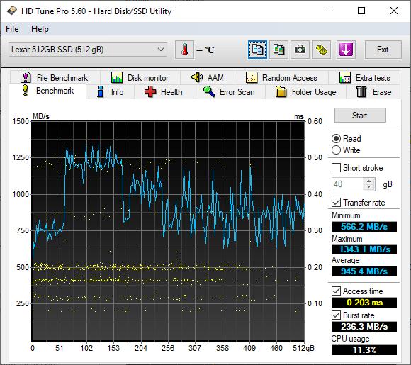 Lexar Ssd Nm620 512 Go Gb Hd Tune Pro Read Benchmark Omgpu Test Run