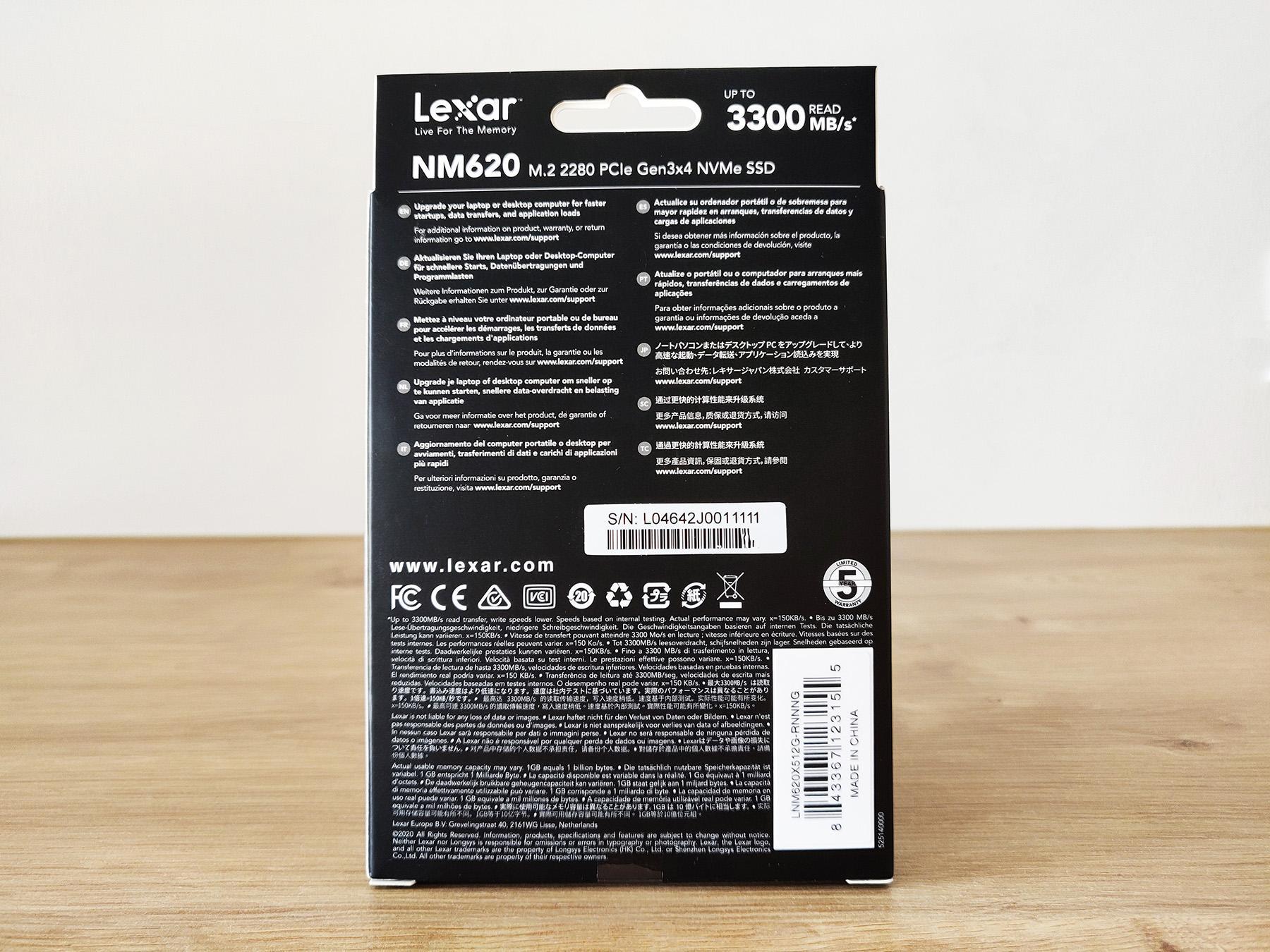 Lexar Ssd Nm620 Box Packaging Back 512 Omgpu Test