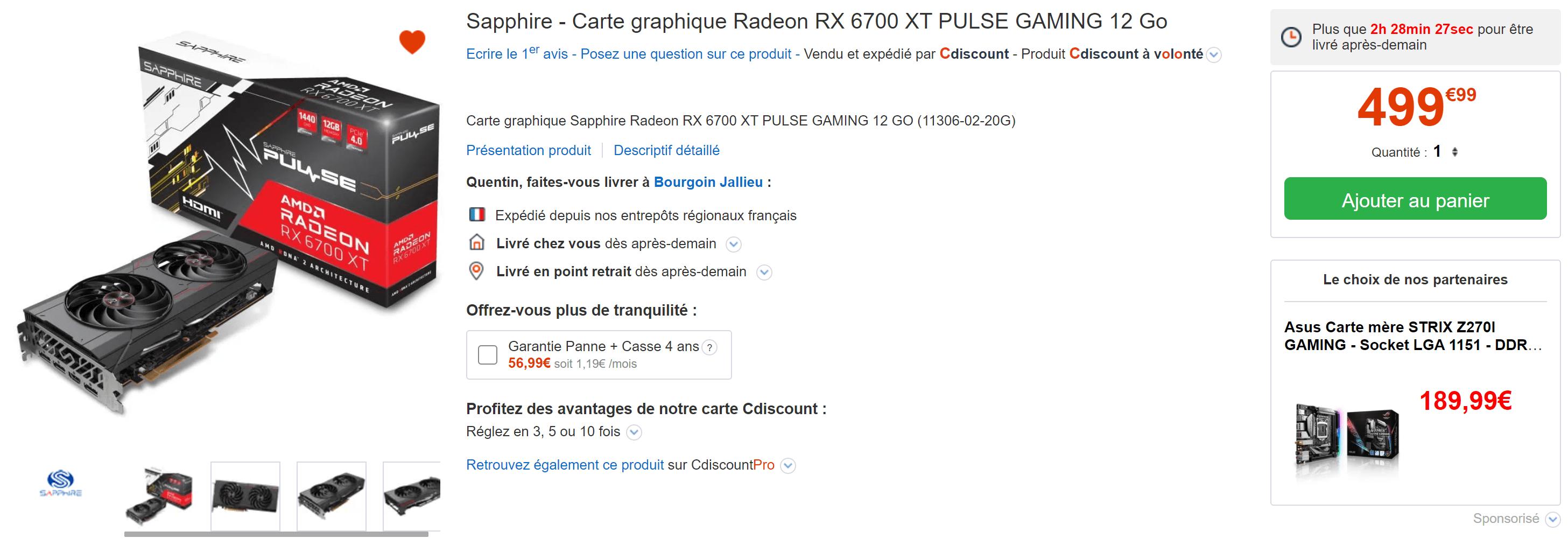 Sapphire Carte Graphique Radeon Rx 6700 Xt Pulse Gaming En Stock