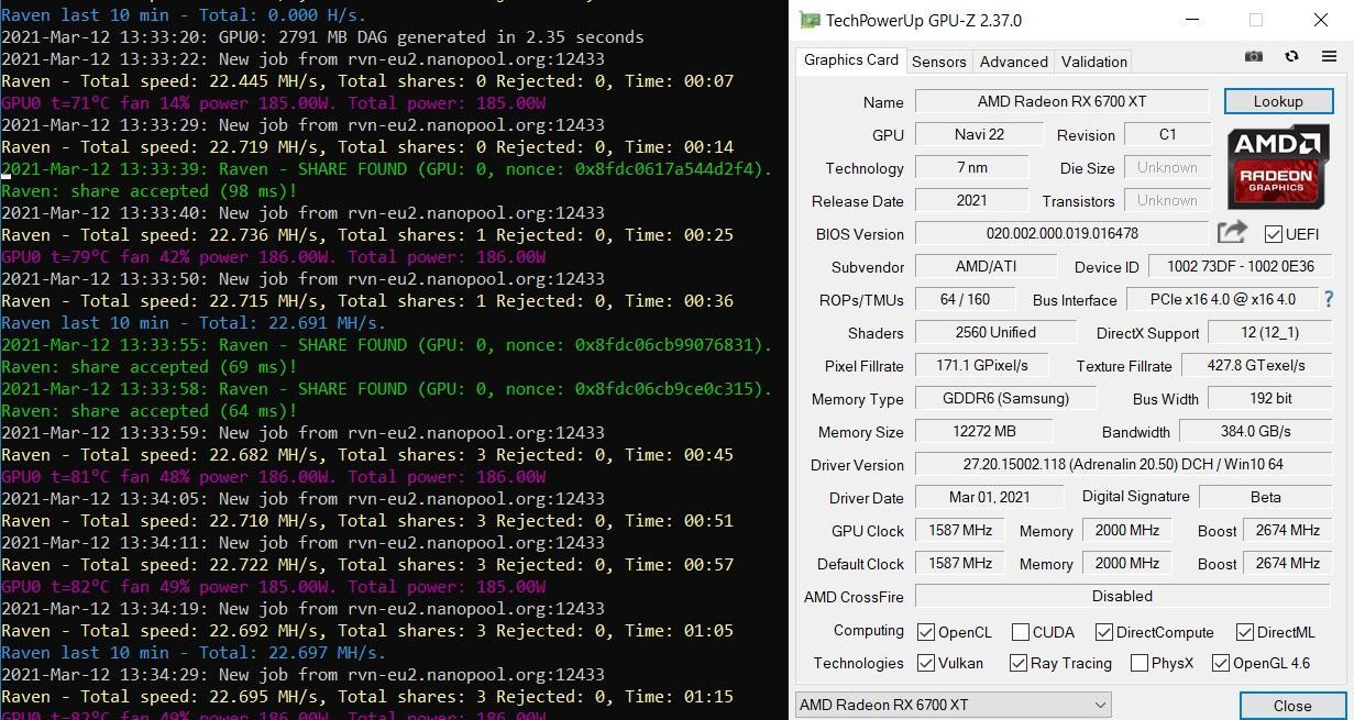 Amd Radeon Rx 6700xt Eth Mining Hashrate Etherum