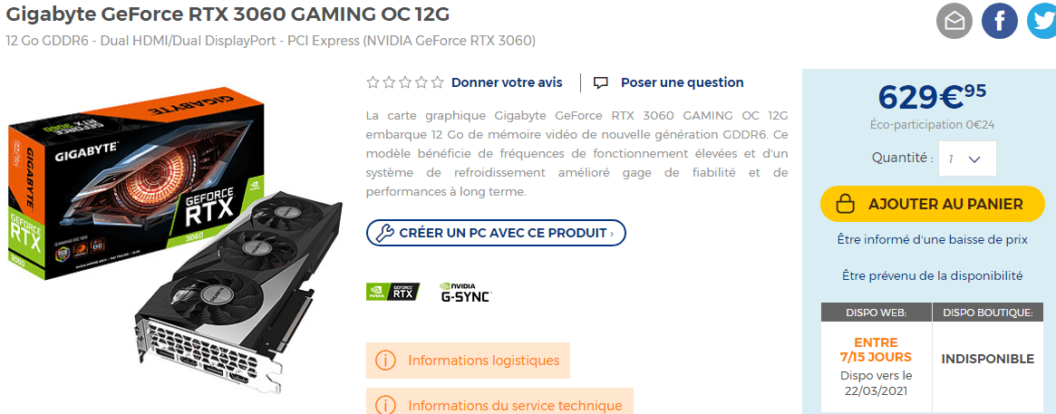 Cartes Graphiques Gigabyte Rtx 3060 Gaming Oc En Stock