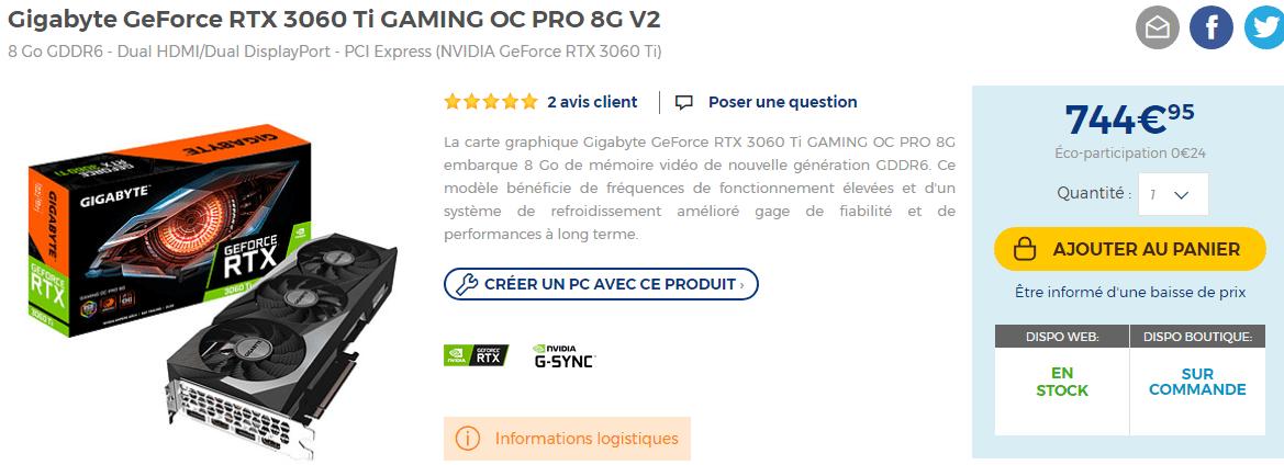 Cartes Graphiques Gigabyte Rtx 3060 Ti Gaming Oc En Stock