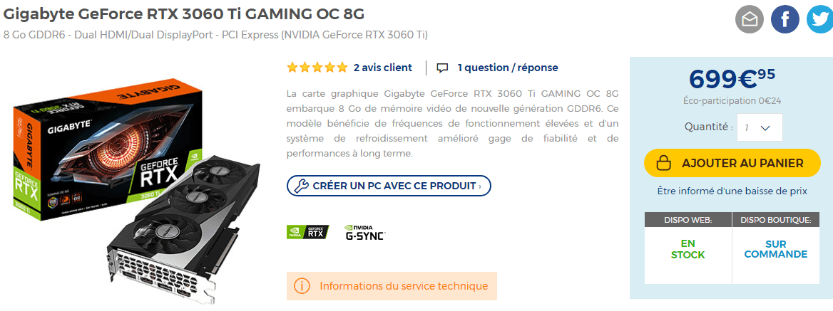 Cartes Graphiques Gigabyte Rtx 3060 Ti Gaming Oc