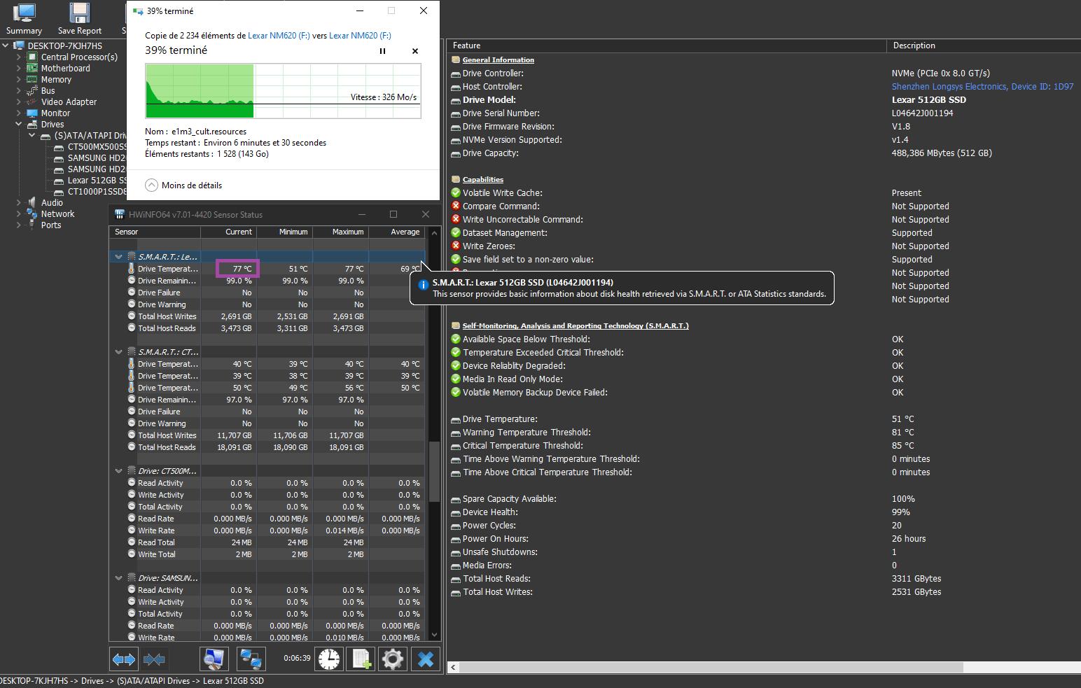 Lexar Ssd Nm620 512 Go Gb Hwinfo Benchmark Omgpu Test Temperature