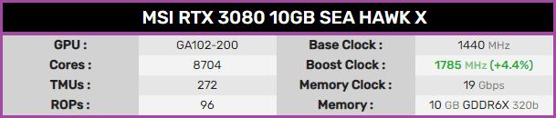 Msi Geforce Rtx 3080 Sea Hawk X Specification