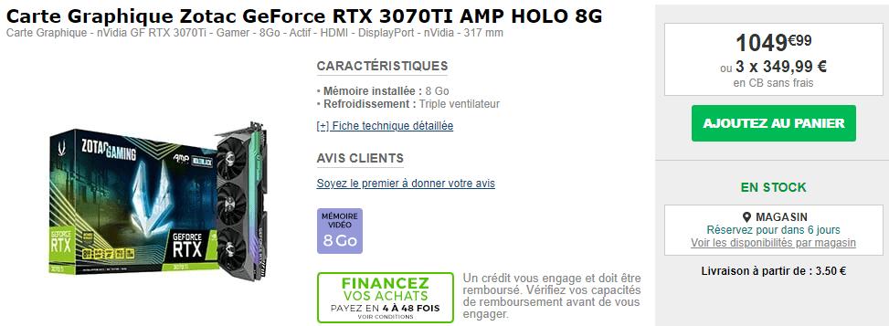Rtx 3070 Ti Zotac Stock Amp Holo 8g