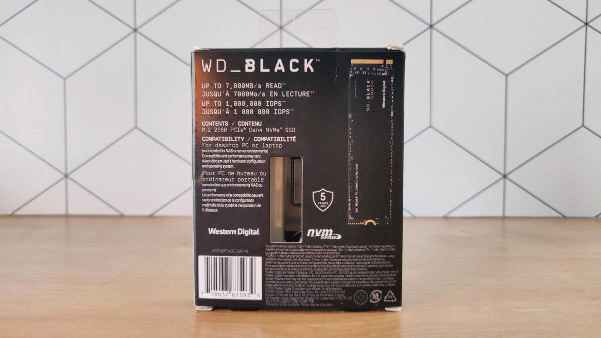 Wd Black Sn850 1to Box Packaging Back Arriere